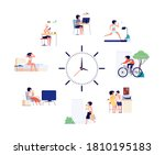 woman daily schedule. female... | Shutterstock .eps vector #1810195183