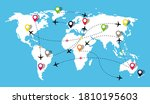 map with airplanes flight.... | Shutterstock .eps vector #1810195603