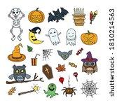 halloween vector elements. cute ... | Shutterstock .eps vector #1810214563
