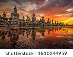 Many statue buddha image at...
