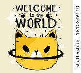 cute doodle funny cat head star ...   Shutterstock .eps vector #1810349110