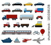 transportation color icons set | Shutterstock .eps vector #181038158