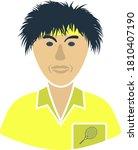 tennis man athlete head icon....