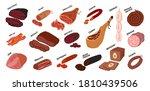 meat delicatessen set. sausages ... | Shutterstock .eps vector #1810439506