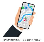 hand with mobile phone with... | Shutterstock .eps vector #1810447069