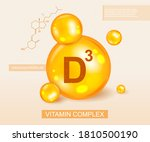 golden vitamin d3 complex and... | Shutterstock .eps vector #1810500190