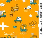 Cute Seamless Pattern With Cars ...