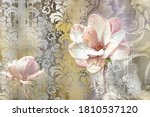 3d Image Pink Flowers On A...
