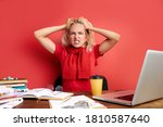 young stressed caucasian female ... | Shutterstock . vector #1810587640