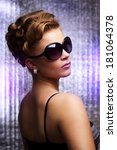 young woman wearing sunglasses. ... | Shutterstock . vector #181064378