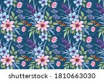 colorful hand draw flowers...   Shutterstock .eps vector #1810663030