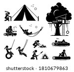 woman recreational pursuit at... | Shutterstock .eps vector #1810679863