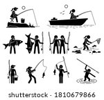 woman fishing and catching fish ... | Shutterstock .eps vector #1810679866