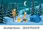 winter camp. vector family... | Shutterstock .eps vector #1810702429