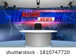 table and weather news on lcds... | Shutterstock .eps vector #1810747720