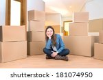 beautiful girl with cardboard... | Shutterstock . vector #181074950