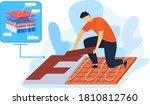 worker installing thermal floor ... | Shutterstock .eps vector #1810812760