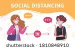 social distancing cartoon... | Shutterstock .eps vector #1810848910