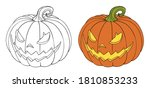 halloween pumpkin. hand drawn... | Shutterstock .eps vector #1810853233