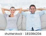 happy couple relaxing on the... | Shutterstock . vector #181086206