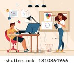 designer illustrator at work in ... | Shutterstock .eps vector #1810864966