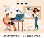 designer illustrator at work in ... | Shutterstock .eps vector #1810864966