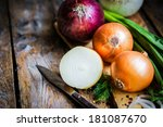 Colorful Onions On Rustic...