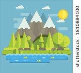 mountain summer flat design...   Shutterstock .eps vector #1810884100