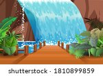 landscape of wooden bridge on... | Shutterstock .eps vector #1810899859