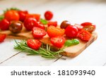 colorful tomatoes on board on... | Shutterstock . vector #181093940