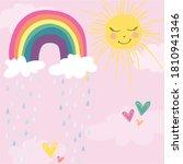 rainy daycute  rainbow with sun | Shutterstock .eps vector #1810941346