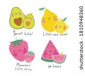 cute kawaii fruit strawberry ... | Shutterstock .eps vector #1810948360