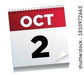 october 2nd on a calendar page  ...   Shutterstock .eps vector #1810972663