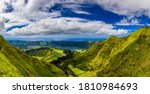 Small photo of View from Miradouro da Boca do Inferno to Sete Citades, Azores, Portugal. A path leading to viewpoint Miradouro da Boca do Inferno in Sao Miguel Island, Azores, Portugal.