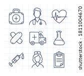 doodle medical icons set part 1.... | Shutterstock .eps vector #1811004670