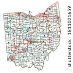 ohio road and highway map.... | Shutterstock .eps vector #1811021659
