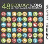 48 ecology icons on circular...