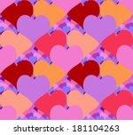 seamless background with hearts ... | Shutterstock . vector #181104263