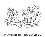santa claus flying in sleigh... | Shutterstock .eps vector #1811092516