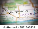 Campbell Hill. Illinois. USA on a geography map