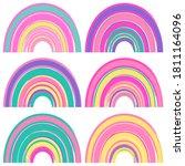 set of watercolor cute rainbows ... | Shutterstock .eps vector #1811164096