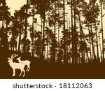 vector silhouette of the deers in thick wood - stock vector