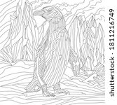 Vector coloring illustration with penguin in antarctica landscape with ice. Plants. Colouring page. waterfowl bird print. Monochrome line drawing