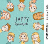 happy boys and girls. cute... | Shutterstock .eps vector #181124138