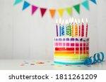Rainbow Birthday Cake With...