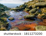Small photo of views of the River Kinder as it reaches the Downfall, the river bed showing colored reflections from the mineral deposits