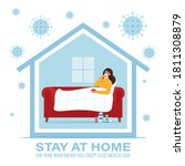 coronavirus concept. stay at... | Shutterstock .eps vector #1811308879