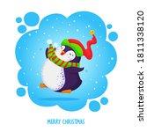 little cute chubby jumping... | Shutterstock .eps vector #1811338120