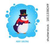 hand drawn cute dancing penguin ... | Shutterstock .eps vector #1811338249