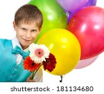 smiling boy with balloons and ... | Shutterstock . vector #181134680